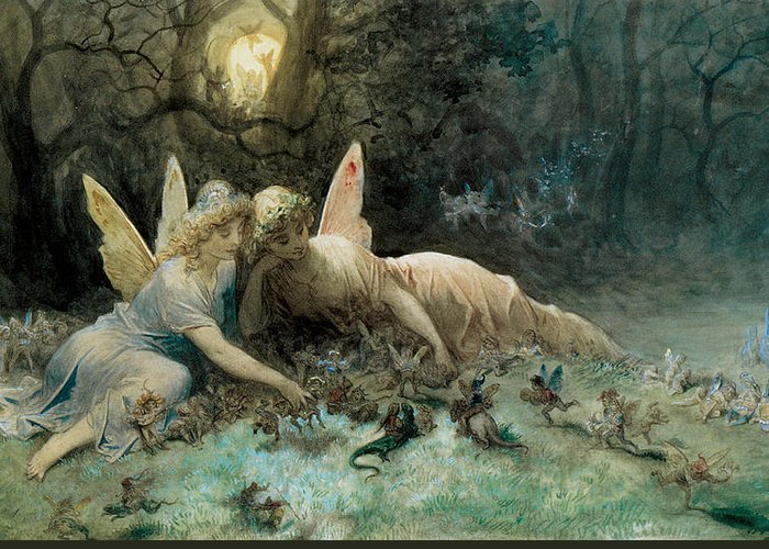 The Fairies Greeting Card featuring the painting The Fairies by Gustave Dore