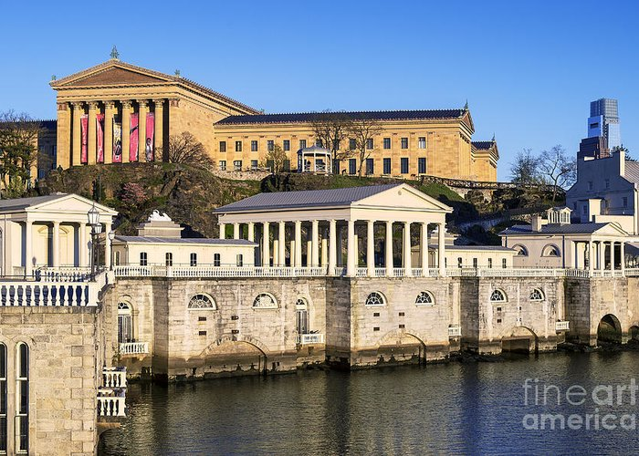 Art Museum Greeting Card featuring the photograph The Fairmount Water Works And Art Museum by John Greim