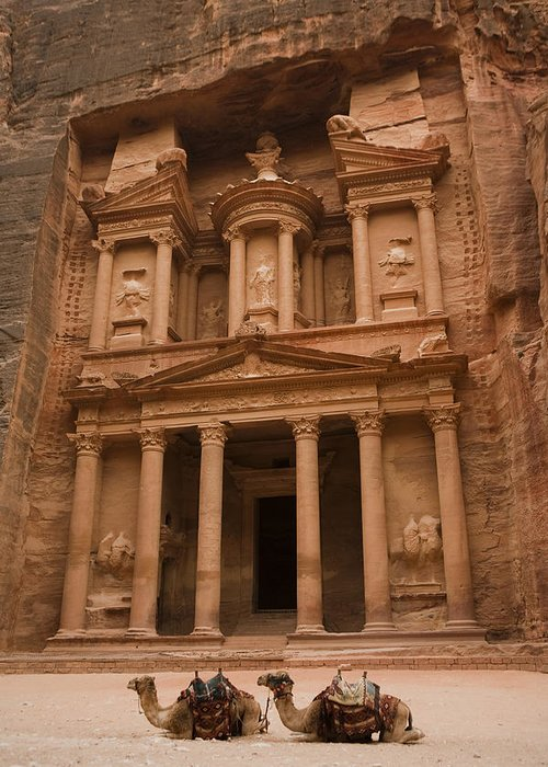 Petra Greeting Card featuring the photograph The Famous Treasury With Two Camels by Taylor S. Kennedy