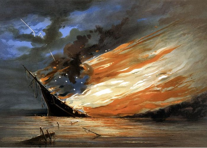 Civil War Greeting Card featuring the painting The Fate Of The Rebel Flag by War Is Hell Store