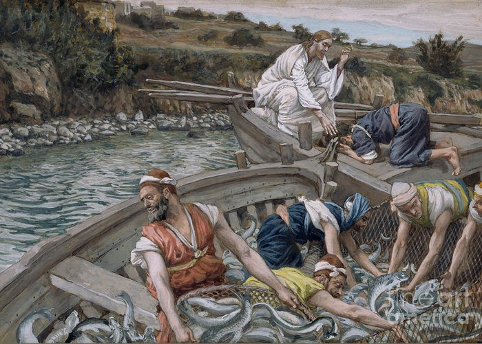 Eel Greeting Card featuring the painting The First Miraculous Draught Of Fish by Tissot
