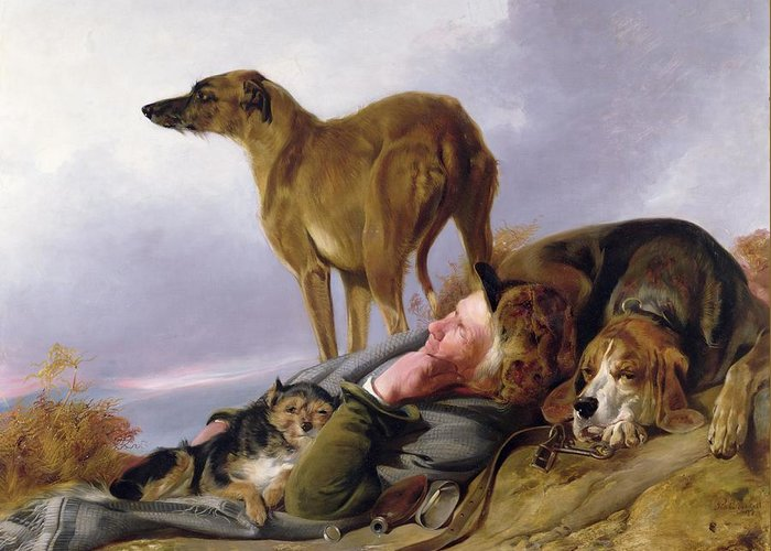 Greeting Card featuring the painting The First Watch by Richard Ansdell