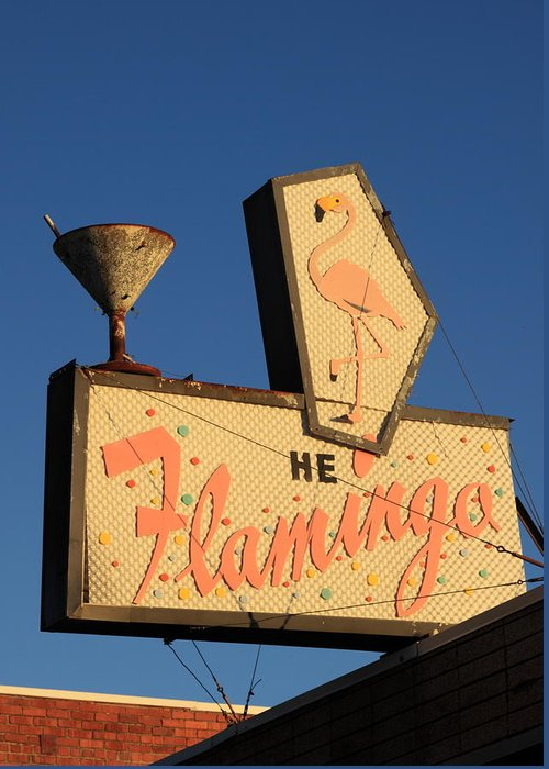 Bar Greeting Card featuring the photograph The Flamingo by Troy Montemayor