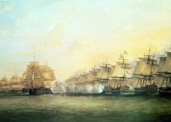 The Greeting Card featuring the painting The Fourth Action Off Trincomalee Between The English And The French by Dominic Serres
