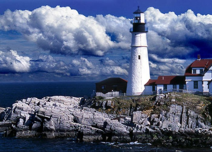 Maine Lighthouses Greeting Card featuring the photograph The Front At Portland Head by Skip Willits