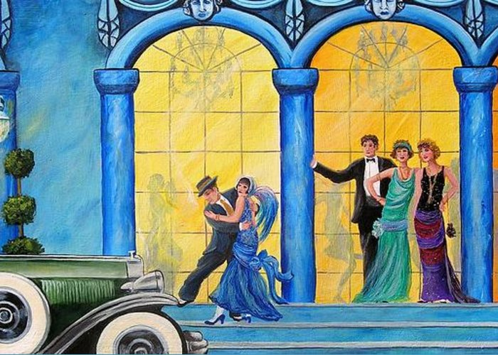 Great Gatsby Greeting Card featuring the painting The Gala by Sharon Kearns