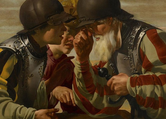 Soldiers Greeting Card featuring the painting The Gamblers by Hendrick Ter Brugghen