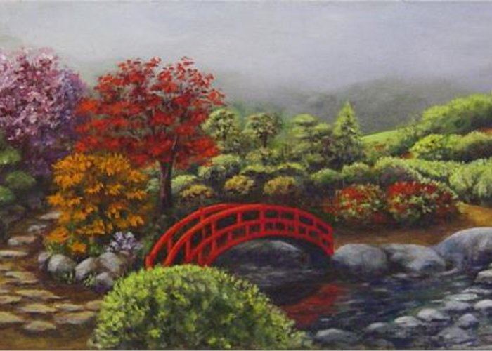 Garden Greeting Card featuring the painting The Garden Of Koan by Laurie Golden