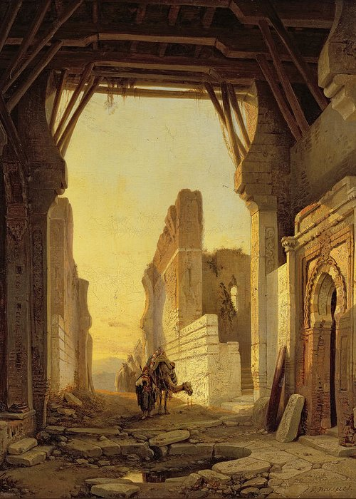 Craks Greeting Card featuring the painting The Gates Of El Geber In Morocco by Francois Antoine Bossuet
