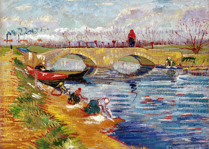 Lef221091 Greeting Card featuring the painting The Gleize Bridge Over The Vigneyret Canal by Vincent van Gogh