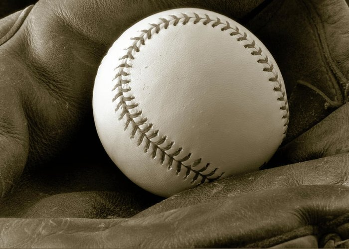 Baseball Greeting Card featuring the photograph The Glove by Shawn Wood