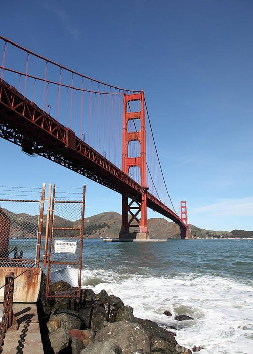 San Francisco Greeting Card featuring the photograph The Golden Gate Bridge At Fort Point - 5d21473 by Wingsdomain Art and Photography