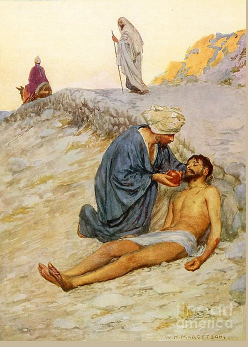 Bible Greeting Card featuring the painting The Good Samaritan by William Henry Margetson