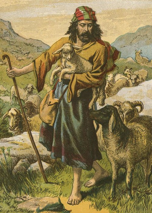 Jesus Christ; Bible; Life; Lessons; Good Shepherd Greeting Card featuring the painting The Good Shepherd by English School
