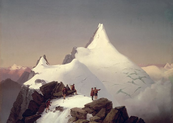 Landscape; Snow; Winter; Alpine; Peak; Climbers; Climber; Climbing; View; Mountaineer; Porter; Cloud; Avalanche; Austria Greeting Card featuring the painting The Great Bellringer by Marcus Pernhart
