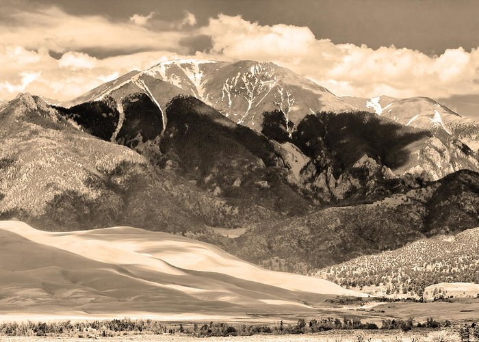 the Great Colorado Sand Dunes Greeting Card featuring the photograph The Great Colorado Sand Dunes In Sepia by James BO Insogna