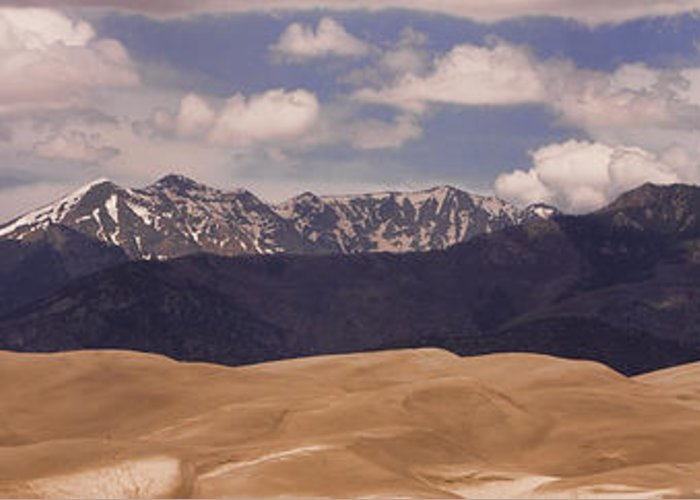 Greeting Card featuring the photograph The Great Sand Dunes Panorama 1 by James BO Insogna
