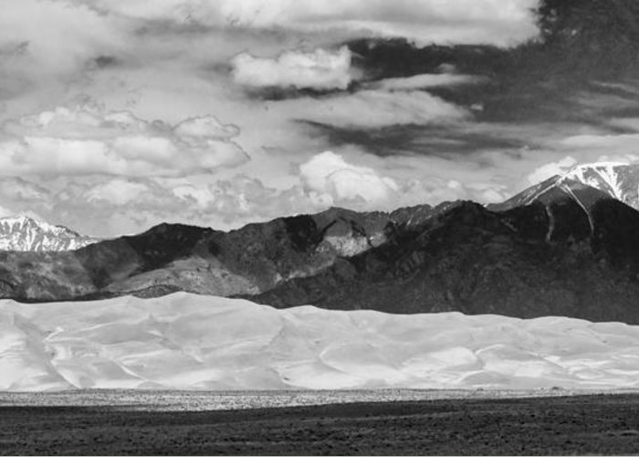 The Great Colorado Sand Dunes; Great Sand Dunes National Park And Preserve; Black And White Sand Dunes Panorama Prints; Black And White Sand Dunes Panorama Greeting Card featuring the photograph The Great Sand Dunes Panorama 2 by James BO Insogna