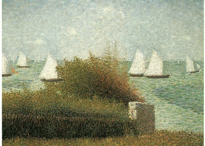 Georges Seurat Greeting Card featuring the painting The Harbor At Grandcamp by Georges Seurat