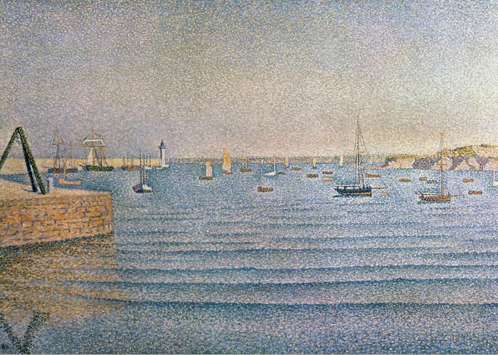 The Harbour At Portrieux Greeting Card featuring the painting The Harbour At Portrieux by Paul Signac