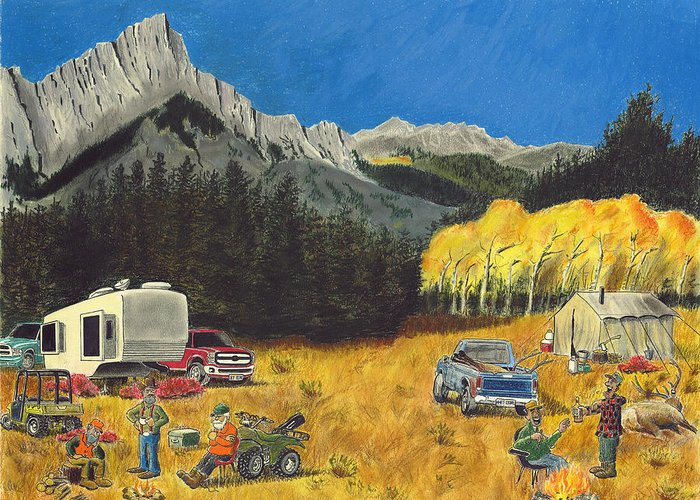 Russell Greeting Card featuring the pastel The Haves And The Have-nots by Tim Koziol