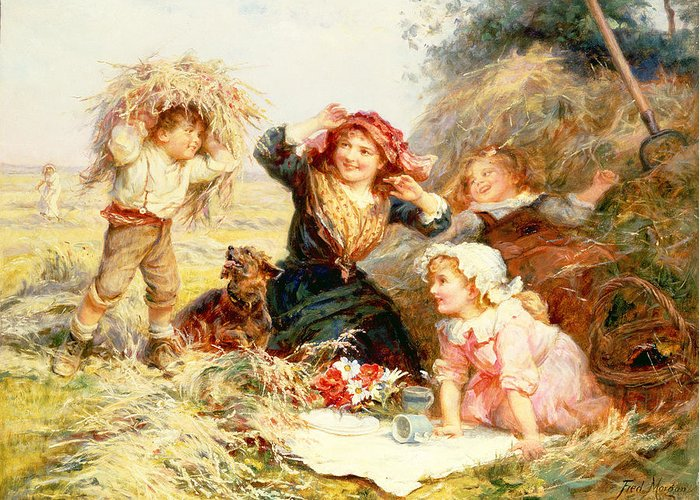 Quaint Greeting Card featuring the painting The Haymakers by Frederick Morgan