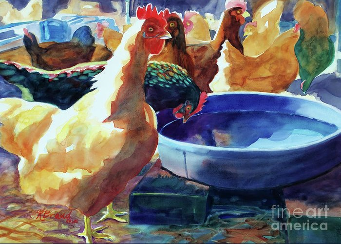 Paintings Greeting Card featuring the painting The Henhouse Watering Hole by Kathy Braud