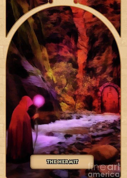 Magic Greeting Card featuring the digital art The Hermit by John Edwards