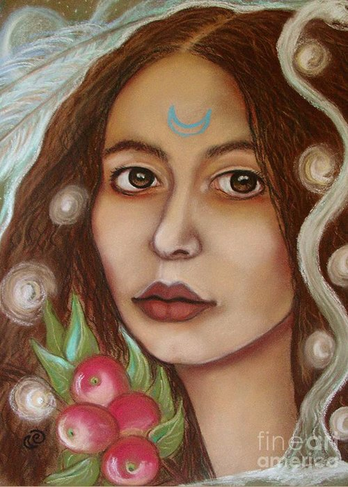 Goddess Greeting Card featuring the painting The High Priestess by Tammy Mae Moon