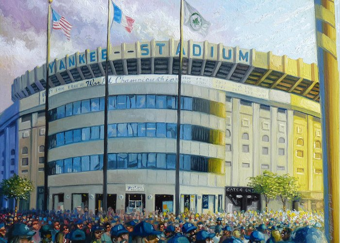 Yankee Stadium Paintings Greeting Card featuring the painting The House That Steinbrenner Wrecked Opening Day by Gregg Hinlicky
