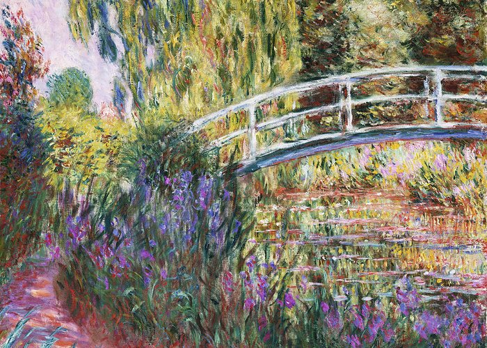 The Japanese Bridge Greeting Card featuring the painting The Japanese Bridge by Claude Monet