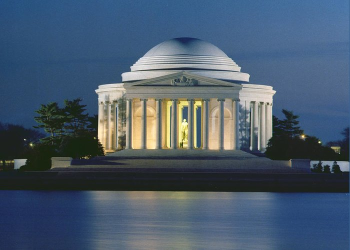 Monument; Saucer Dome; Portico; Columns; Architecture; Architectural; West Potomac Park; Evening; Dusk; Nighttime; Statue; River; Riverbank; Reflection; Nocturne; 3rd; American; Architecture; Neo-classical Greeting Card featuring the photograph The Jefferson Memorial by Peter Newark American Pictures