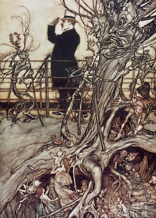 Arthur Rackham Greeting Card featuring the drawing The Kensington Gardens Are In London Where The King Lives by Arthur Rackham