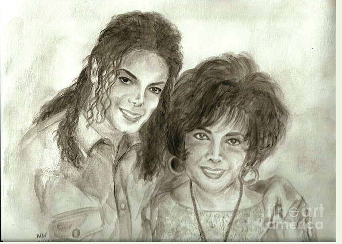 Michael Jackson Greeting Card featuring the painting The King Of Pop And Elizabeth Taylor by Nicole Wang