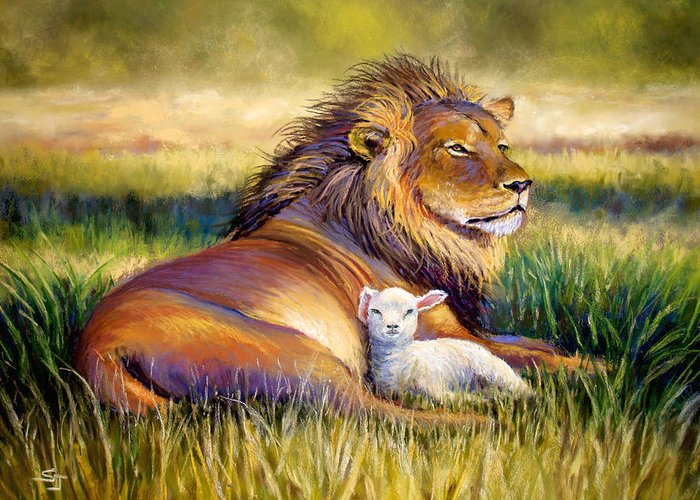 Lion And The Lamb Greeting Card featuring the pastel The Kingdom Of Heaven by Susan Jenkins