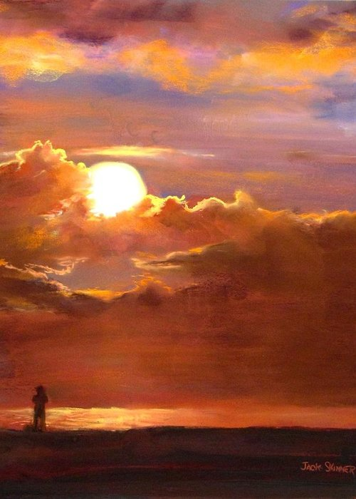 Sunset Greeting Card featuring the painting The Last Cast by Jack Skinner