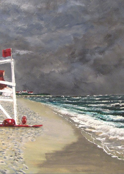Seascape Greeting Card featuring the painting The Last Lifeguard by Jack Skinner