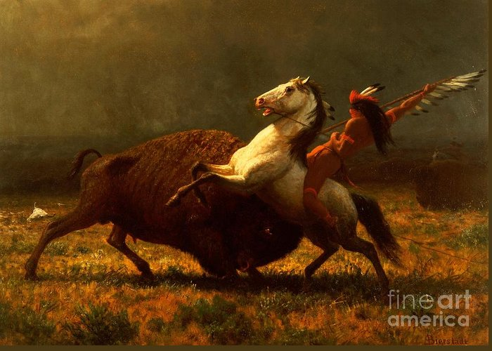 Albert Bierstadt Greeting Card featuring the painting The Last Of The Buffalo by Albert Bierstadt