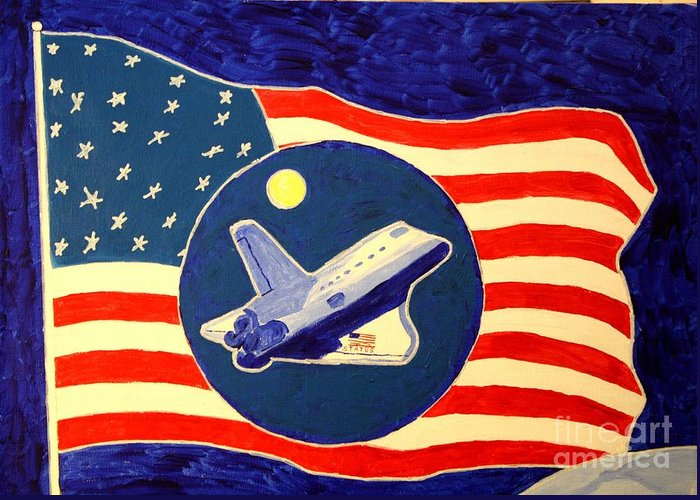 Atlantis Greeting Card featuring the painting The Last Space Shuttle by Bill Hubbard