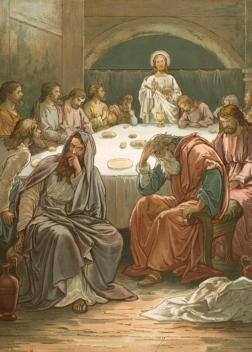Bible; The Last Supper; Jesus Christ; Judas Isacariot; Breaking Bread; Wine Greeting Card featuring the painting The Last Supper by John Lawson
