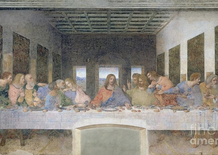 The Greeting Card featuring the painting The Last Supper by Leonardo da Vinci