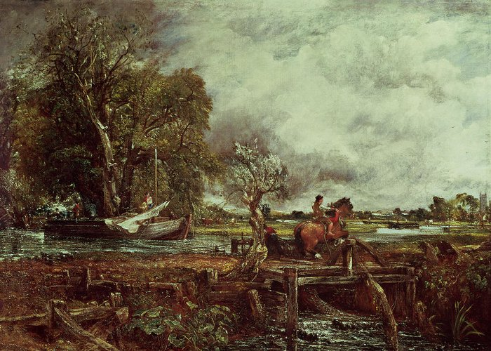 The Greeting Card featuring the painting The Leaping Horse by John Constable