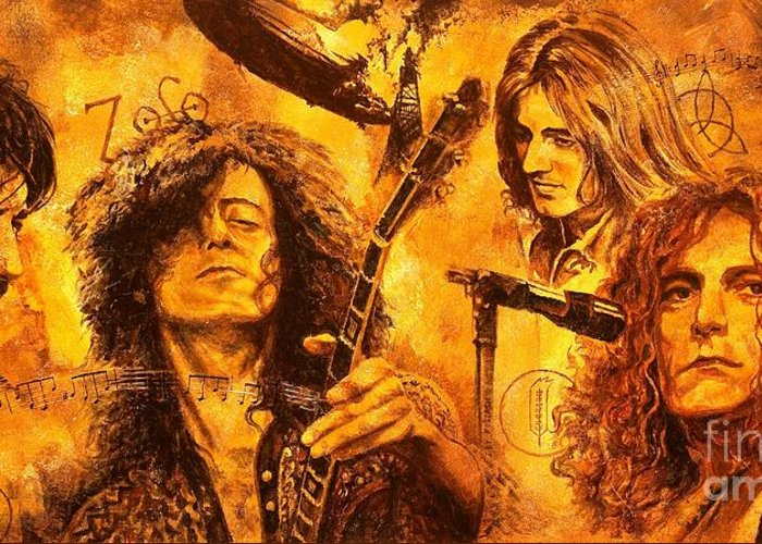Led Zeppelin Greeting Card featuring the painting The Legend by Igor Postash