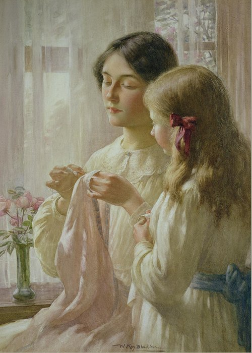 The Greeting Card featuring the painting The Lesson by William Kay Blacklock