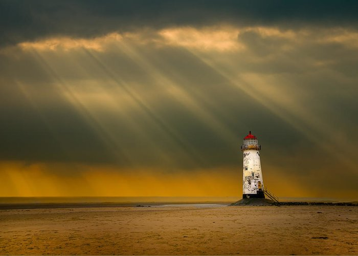 Greeting Card featuring the photograph The Lighthouse As The Storm Breaks by Meirion Matthias