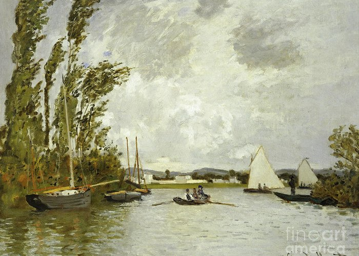 The Little Branch Of The Seine At Argenteuil (oil On Canvas) By Claude Monet (1840-1926) Greeting Card featuring the painting The Little Branch Of The Seine At Argenteuil by Claude Monet