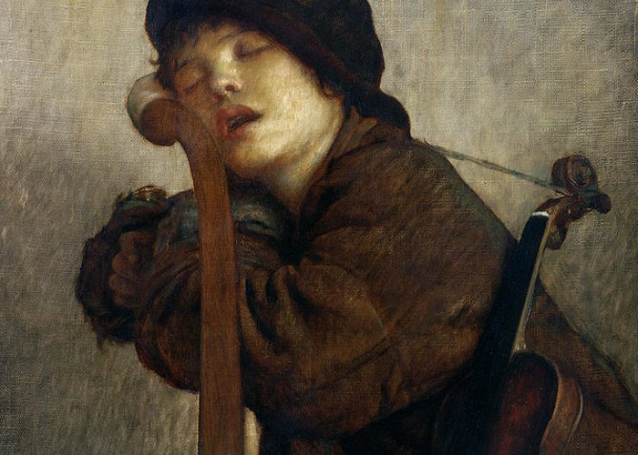 Boy Greeting Card featuring the painting The Little Violinist Sleeping by Antoine Auguste Ernest Hebert