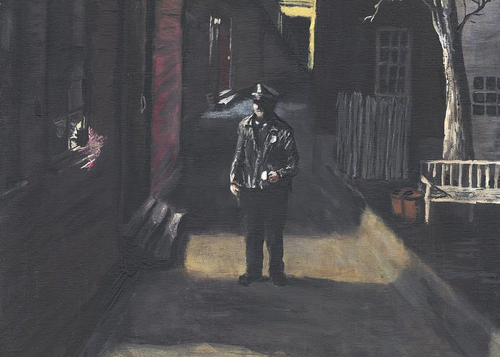 Police Officer Greeting Card featuring the painting The Lonely Beat by Jack Skinner