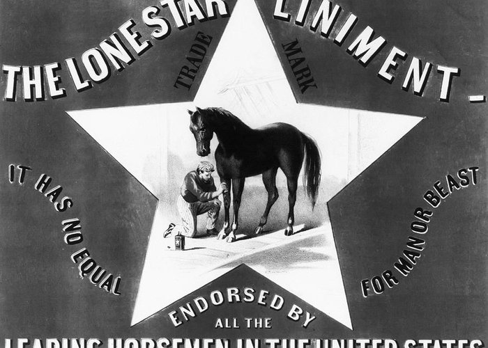 The Lonestar Liniment Greeting Card featuring the photograph The Lonestar Liniment by Bill Cannon