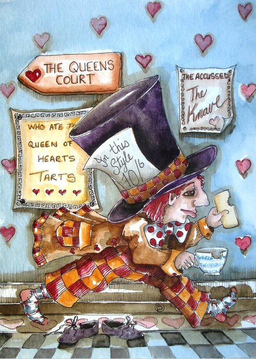 Alice In Wonderland Greeting Card featuring the painting The Mad Hatter - In Court by Lucia Stewart